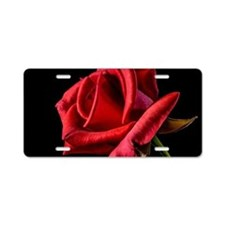 Red Rose Sideways Aluminum License Plate