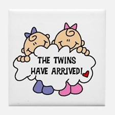 Twin Girls Arrived Tile Coaster