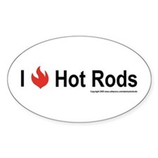 I Flame Hot Rods oval sticker