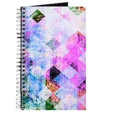 Pink/Blue Geometric Grungy Diamond Pattern Journal