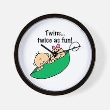 Twins Twice as Fun Wall Clock