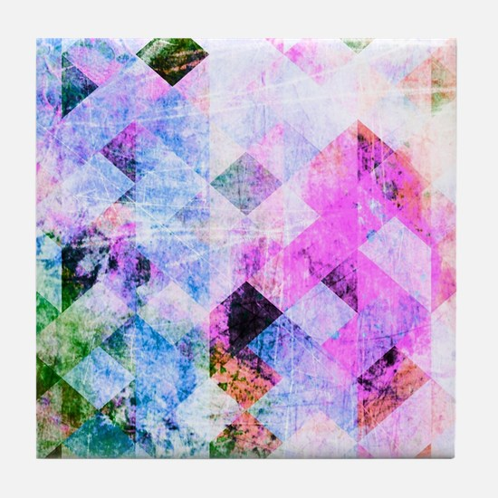 Pink/Blue Geometric Grungy Diamond Pa Tile Coaster