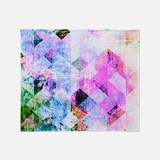 Pink/Blue Geometric Grungy Diamond P Throw Blanket