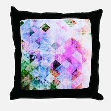 Pink/Blue Geometric Grungy Diamond Pa Throw Pillow