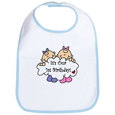 Twin Girls 1st Birthday Bib
