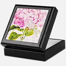 Pink Hydrangea and dragonfly Keepsake Box