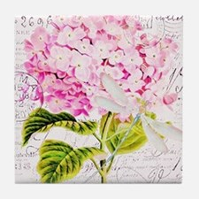Pink Hydrangea and dragonfly Tile Coaster