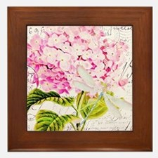 Pink Hydrangea and dragonfly Framed Tile