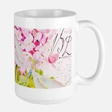 Pink Hydrangea and dragonfly Mugs