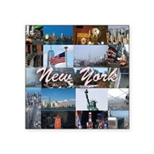 "New York Pro Photo Montage- Square Sticker 3"" x 3"""