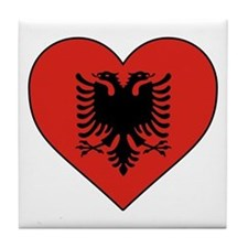 Albania Heart Tile Coaster