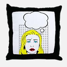 white pop art comic cartoon Throw Pillow