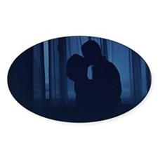 Blue silhouette couple kissing analogue fi Decal