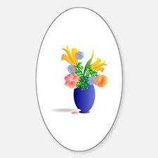 Spring Bouquet in Blue Vase Sticker (Oval)