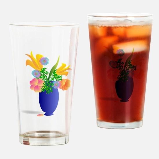 Spring Bouquet in Blue Vase Drinking Glass