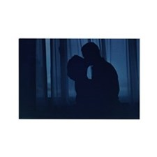 Blue silhouette couple kissing analogue fi Magnets