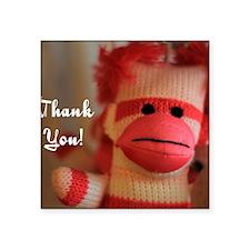 "Thank You Monkey Doll Square Sticker 3"" x 3"""