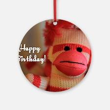 Birthday Monkey Doll Round Ornament