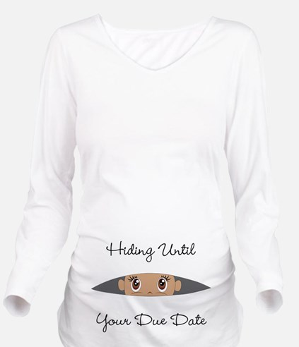 Hiding Until [Your D Long Sleeve Maternity T-Shirt