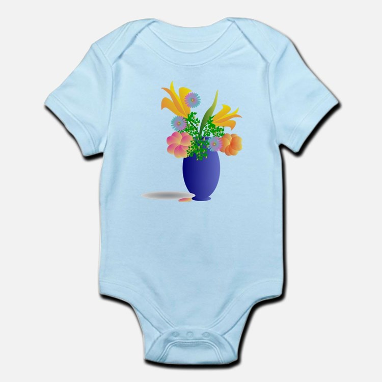 Spring Bouquet in Blue Vase Body Suit