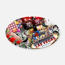 Las Vegas Icons - Gamblers Delight Oval Car Magnet