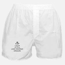 Keep calm we live in Lake Oswego Oreg Boxer Shorts