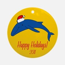 Whale Happy Holidays! Round Ornament