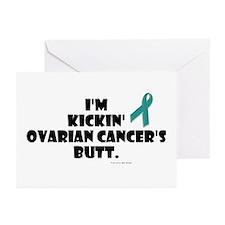 I'm Kickin' Ovarian Cancer's Butt Greeting Cards (