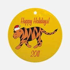 Tiger Happy Holidays! Round Ornament
