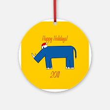 Rhino Happy Holidays! Round Ornament