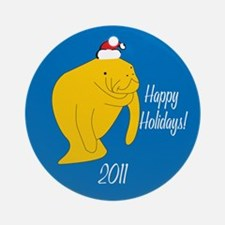 Manatee Happy Holidays! Round Ornament