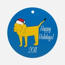 Lion Happy Holidays! Round Ornament