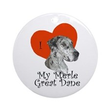 Luv My Merle Great Dane II Ornament (Round)