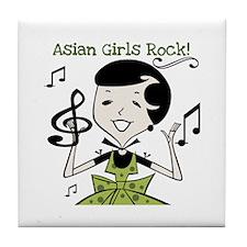 Asian Girls Rock Tile Coaster