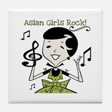 Asian Girls Rock Tile Coaster