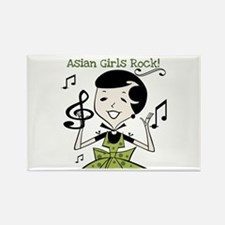 Asian Girls Rock Rectangle Magnet