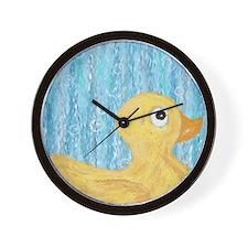 Big Rubber Duck on Blue Wall Clock