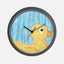 Big Rubber Duck on Blue Wall Clock