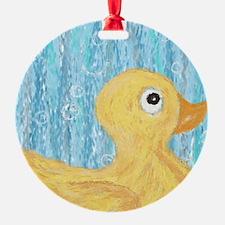 Big Rubber Duck on Blue Ornament
