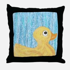 Big Rubber Duck on Blue Throw Pillow
