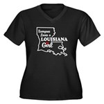 louisiana Girl Women's Plus Size V-Neck Dark T-Shi