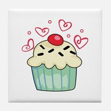 CUPCAKE AND HEARTS Tile Coaster