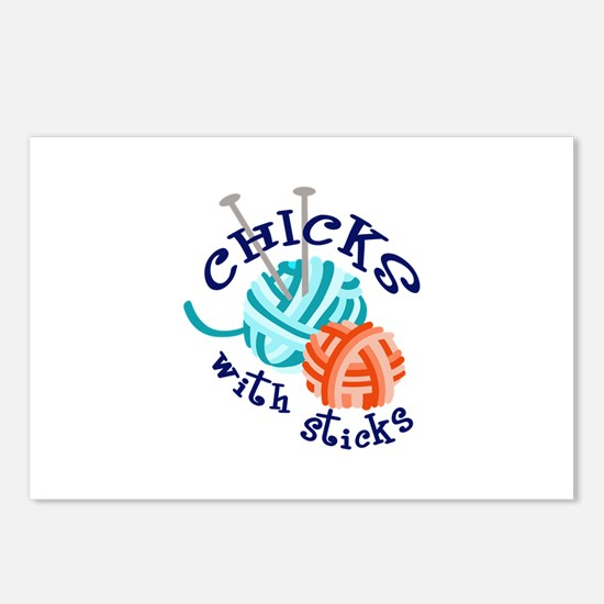 CHICKS WITH STICKS Postcards (Package of 8)