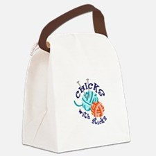 CHICKS WITH STICKS Canvas Lunch Bag