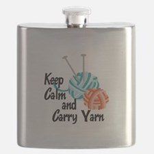 KEEP CALM AND CARRY YARN Flask