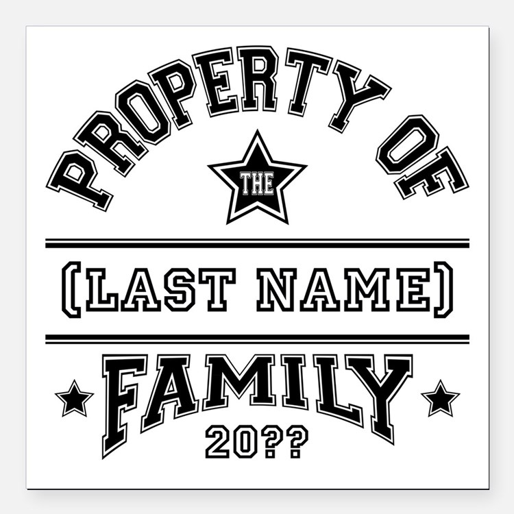 """Family Property Square Car Magnet 3"""" x 3"""""""