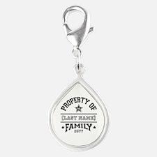 Family Property Silver Teardrop Charm