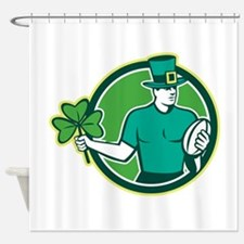 Irish Rugby Player Holding Shamrock Shower Curtain