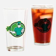 Irish Rugby Player Holding Shamrock Drinking Glass