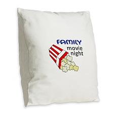 FAMILY MOVIE NIGHT Burlap Throw Pillow